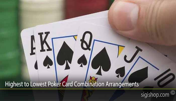 Highest to Lowest Poker Card Combination Arrangements